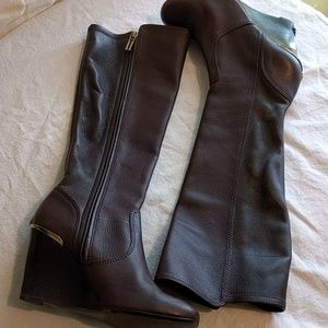 Tory Burch Linnett Brown Leather Wedge Boots 8.5